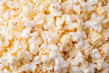 Popcorn background. Selective focus. Copy space. Nobody.