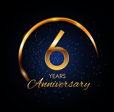 Template Logo 6 Year Anniversary Vector Illustration