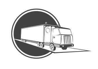 Illustration of a truck drawn in the form of a sign