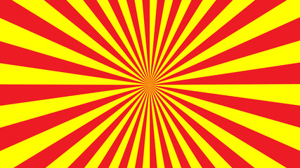 Red yellow rays background. Sun rays poster. Sunbeams. Pop Art Background. Retro Background. Comics star burst rays. Vintage abstract background with rays. Bright colors. Vector AI10
