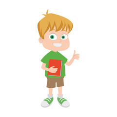 Cute school boy cartoon vector illustration graphic design