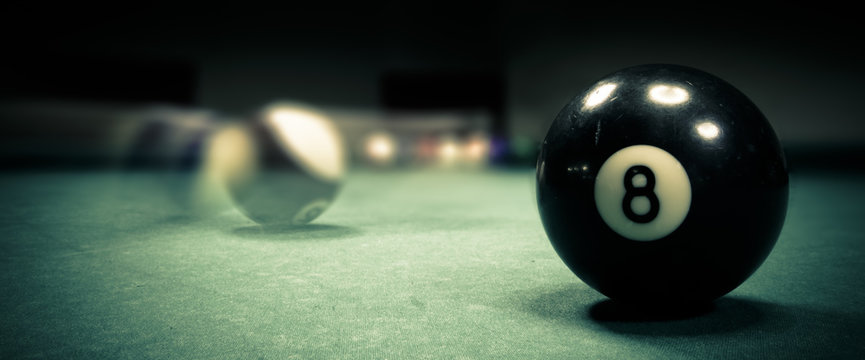 Pool game. Billiard balls on green table