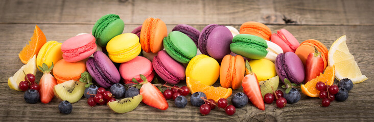 Poster Macarons Colorful French macaroons
