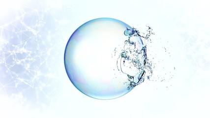 3d soap transparent bubble in the deformation.