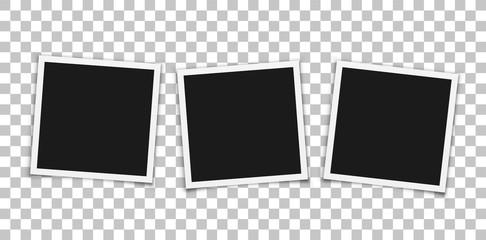 Vintage photo frames on transparent background. Vector.