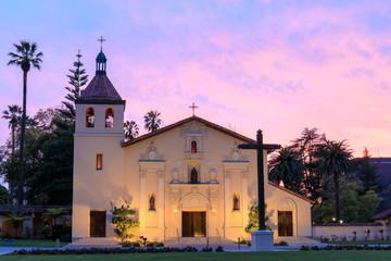 Exterior of Church of Mission Santa Clara de Asis. The front facade of Mission Santa Clara, student chapel of Santa Clara University.