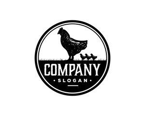 Chicken and Chicks Livestock Drawing Symbol Animal Silhouette Vintage Circle Logo Vector