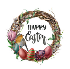 Watercolor easter card with robin, flowers and lettering. Hand painted illustration with willow, tulip, eggs and tree branch with leaves isolated on white background. For design, print, background.