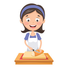 Vector Illustration Of Woman Cutting Bread