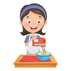 Vector Illustration Of Woman Mixing