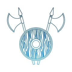 Medieval emblem with shield vector illustration graphic design