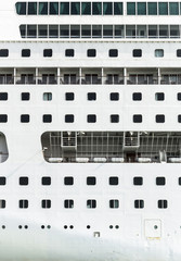 Close view of cruiser shipboard, side view