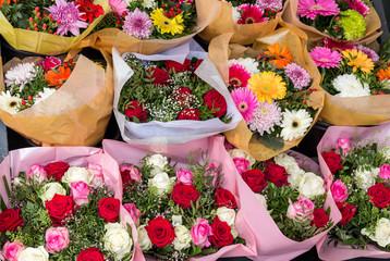 Various flower bouquets  at a street market., closeup
