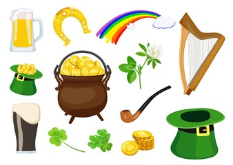 Set of symbols of St. Patrick's Day holiday. Vector illustration.