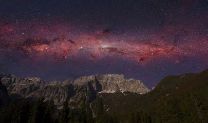 night scene of Alps mountain and galaxy. Elements of this image furnished by NASA