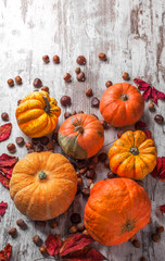 Pumpkins overhead hazelnuts walnuts and chestnuts on white wooden table