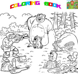 The illustration shows a male tourist who is engaged in photo hunting. Animals on a forest glade posing for a photoshoot. Vector illustration is made in cartoon style,designed for coloring book