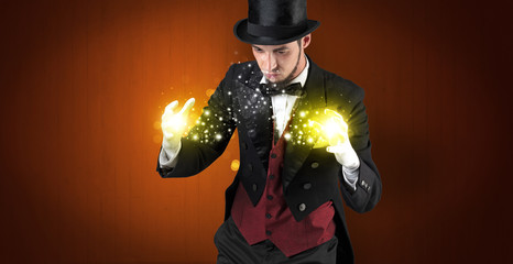 Illusionist holding superpower on his hand