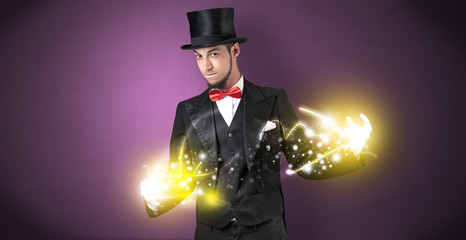 Magician holding his power on his hand