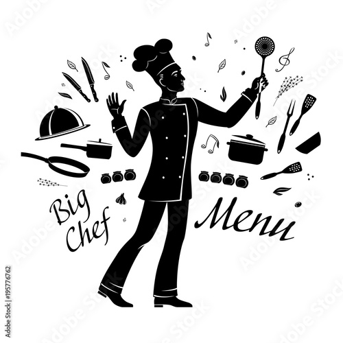 A Silhouette Cartoon Drawing Chef Inspirationally Conducts Cooking