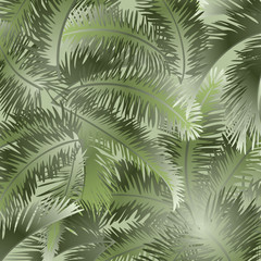 Tropical palm leaves vector floral pattern background