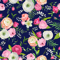 Summer Floral Seamless Pattern with Pink Flowers and Lily. Botanical Background for Fabric Textile, Wallpaper, Wrapping Paper and Decor. Vector illustration