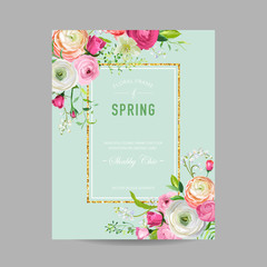Floral Spring Design Template with Golden Frame for Wedding Invitation, Greeting Card, Sale Banner, Poster, Placard, Cover. Spingtime Background with Pink Flowers. Vector illustration