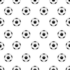 Seamless pattern with football ball isolated on white background. Vector illustration