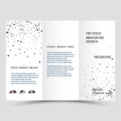Three fold business brochure template, corporate flyer or cover design in blue colors.