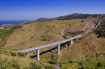 street or highway bridge in France, countryside of Collioure village