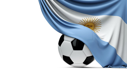 Argentinia national flag draped over a soccer football ball. 3D Rendering