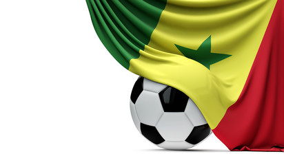 94ce048be00 Senegal national flag draped over a soccer football ball. 3D Rendering