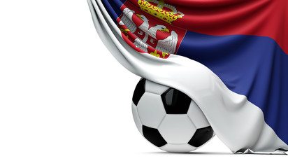 Serbia national flag draped over a soccer football ball. 3D Rendering