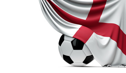 England national flag draped over a soccer football ball. 3D Rendering