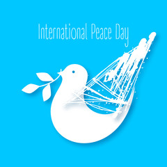 Vector Illustration of a Dove of Peace. Peace dove with olive branch for International Peace Day poster. World peace day logo design. Flying dove concept. White on a blue background