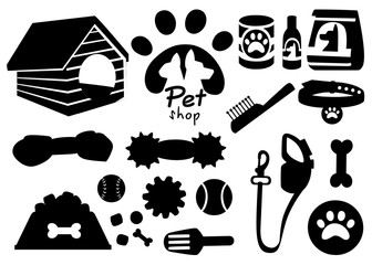 Set of pet shop black icons. Accessories for dogs. Flat vector illustration. Feed, toys, balls, collar. Products for the pet shop. Vector illustration isolated on white background