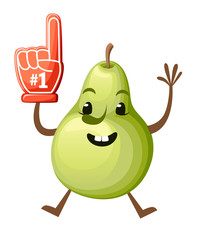 Cartoon Illustration of a Pear. Cute pear mascot. Jumping fruit with foam hand Number 1. Vector illustration isolated on white background. Web site page and mobile app design