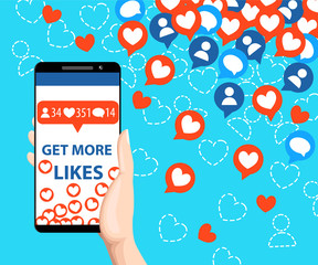 Get more likes. Smartphone pulling like. SEO concept. Hand holding smartphone. Design elements for social network,marketing. Vector illustration isolated on blue background