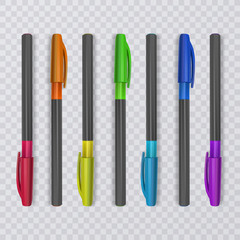 Realistic pens with rainbow colors. Vector illustration.
