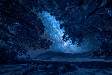 Fototapete - Milky way and hills in District Lake in England