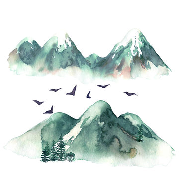 Raster watercolor illustration of some hills augmented with birds. Travel, natural themes, design element, printed goods.
