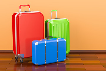 Luggage, baggage, colorful suitcases in room on the wooden floor, 3D rendering