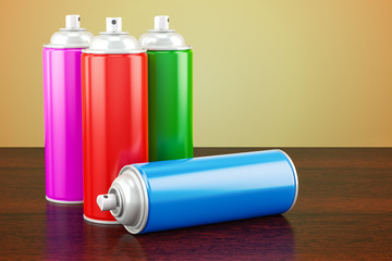 Spray paint cans on the wooden table. 3D rendering