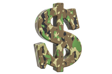 Camouflage army dollar symbol, 3D rendering