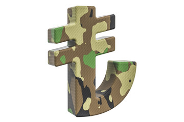 Camouflage army lira symbol, 3D rendering