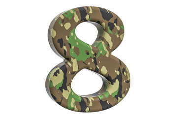 Camouflage army number 8, 3D rendering