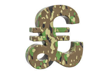 Camouflage army pound sterling symbol, 3D rendering