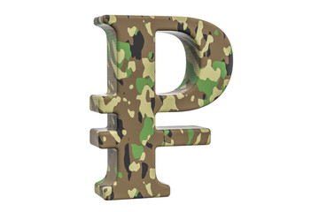 Camouflage army ruble symbol, 3D rendering