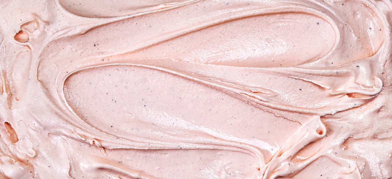 Top view of pink raspberry ice cream surface