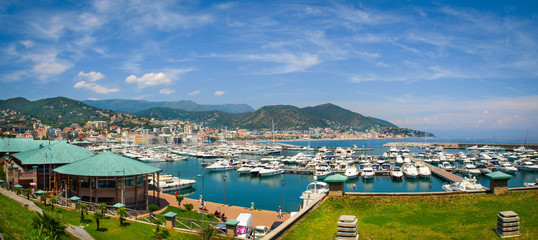 Poster Ligurie Panoramic view of Varazze Marina in Liguria, Italy